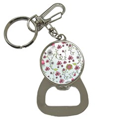 Pink Whimsical Flowers On Blue Bottle Opener Key Chain