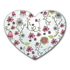 Pink Whimsical Flowers On Blue Mouse Pad (heart) by Zandiepants