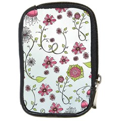 Pink Whimsical Flowers On Blue Compact Camera Leather Case by Zandiepants