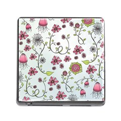 Pink Whimsical Flowers On Blue Memory Card Reader With Storage (square) by Zandiepants