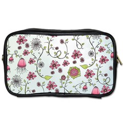 Pink Whimsical Flowers On Blue Travel Toiletry Bag (two Sides) by Zandiepants