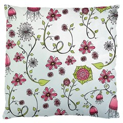 Pink Whimsical Flowers On Blue Large Cushion Case (single Sided)  by Zandiepants