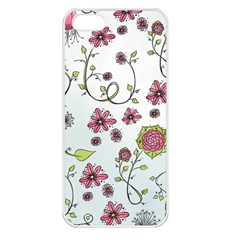 Pink whimsical flowers on blue Apple iPhone 5 Seamless Case (White) by Zandiepants