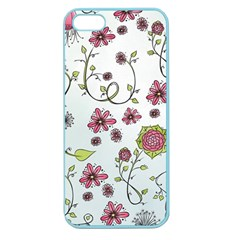 Pink Whimsical Flowers On Blue Apple Seamless Iphone 5 Case (color) by Zandiepants