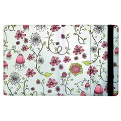 Pink Whimsical Flowers On Blue Apple Ipad 2 Flip Case by Zandiepants