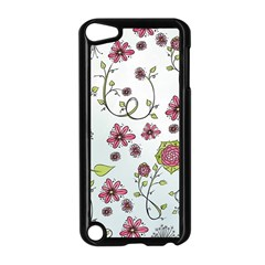 Pink Whimsical Flowers On Blue Apple Ipod Touch 5 Case (black) by Zandiepants