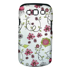 Pink Whimsical Flowers On Blue Samsung Galaxy S Iii Classic Hardshell Case (pc+silicone) by Zandiepants