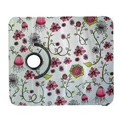 Pink Whimsical Flowers On Blue Samsung Galaxy S  Iii Flip 360 Case by Zandiepants