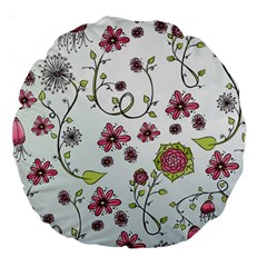 Pink Whimsical Flowers On Blue 18  Premium Round Cushion  by Zandiepants