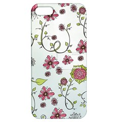 Pink Whimsical Flowers On Blue Apple Iphone 5 Hardshell Case With Stand by Zandiepants