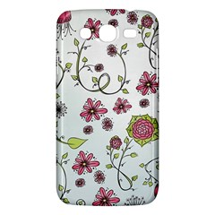Pink Whimsical Flowers On Blue Samsung Galaxy Mega 5 8 I9152 Hardshell Case  by Zandiepants