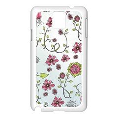 Pink Whimsical Flowers On Blue Samsung Galaxy Note 3 N9005 Case (white) by Zandiepants