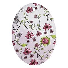 Pink whimsical flowers on pink Oval Ornament