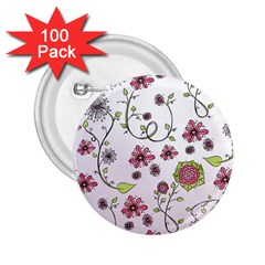 Pink Whimsical Flowers On Pink 2 25  Button (100 Pack) by Zandiepants