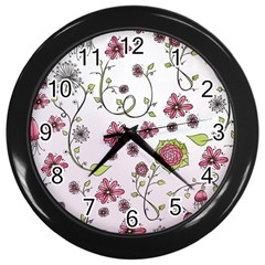 Pink Whimsical Flowers On Pink Wall Clock (black) by Zandiepants