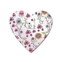 Pink Whimsical Flowers On Pink Magnet (heart) by Zandiepants