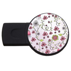 Pink Whimsical Flowers On Pink 2gb Usb Flash Drive (round) by Zandiepants