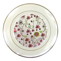 Pink Whimsical Flowers On Pink Porcelain Display Plate by Zandiepants