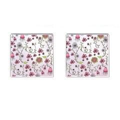 Pink Whimsical Flowers On Pink Cufflinks (square) by Zandiepants