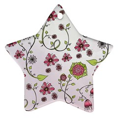Pink Whimsical Flowers On Pink Star Ornament (two Sides) by Zandiepants