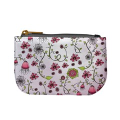Pink Whimsical Flowers On Pink Coin Change Purse by Zandiepants