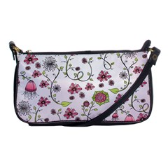 Pink Whimsical Flowers On Pink Evening Bag by Zandiepants