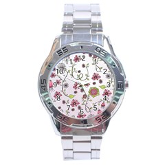 Pink Whimsical Flowers On Pink Stainless Steel Watch