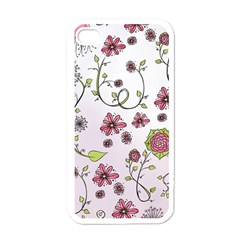 Pink Whimsical Flowers On Pink Apple Iphone 4 Case (white) by Zandiepants