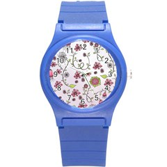 Pink Whimsical Flowers On Pink Plastic Sport Watch (small) by Zandiepants