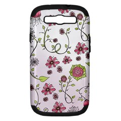 Pink Whimsical Flowers On Pink Samsung Galaxy S Iii Hardshell Case (pc+silicone) by Zandiepants