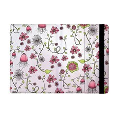 Pink Whimsical Flowers On Pink Apple Ipad Mini Flip Case by Zandiepants