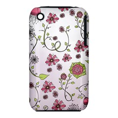 Pink Whimsical Flowers On Pink Apple Iphone 3g/3gs Hardshell Case (pc+silicone) by Zandiepants