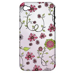Pink Whimsical Flowers On Pink Apple Iphone 4/4s Hardshell Case (pc+silicone) by Zandiepants