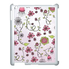 Pink Whimsical Flowers On Pink Apple Ipad 3/4 Case (white) by Zandiepants