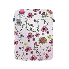 Pink Whimsical Flowers On Pink Apple Ipad Protective Sleeve by Zandiepants