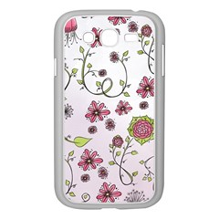 Pink Whimsical Flowers On Pink Samsung Galaxy Grand Duos I9082 Case (white) by Zandiepants