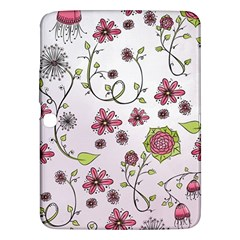 Pink Whimsical Flowers On Pink Samsung Galaxy Tab 3 (10 1 ) P5200 Hardshell Case  by Zandiepants