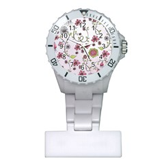 Pink Whimsical Flowers On Pink Nurses Watch by Zandiepants