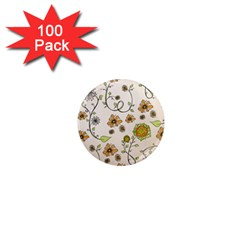 Yellow Whimsical Flowers  1  Mini Button Magnet (100 Pack) by Zandiepants