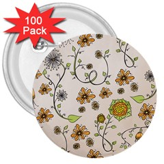 Yellow Whimsical Flowers  3  Button (100 Pack) by Zandiepants