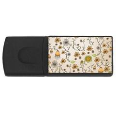 Yellow Whimsical Flowers  4gb Usb Flash Drive (rectangle) by Zandiepants