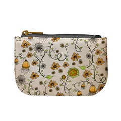 Yellow Whimsical Flowers  Coin Change Purse by Zandiepants