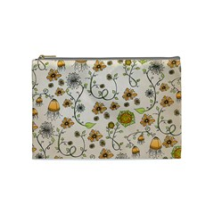 Yellow Whimsical Flowers  Cosmetic Bag (medium) by Zandiepants