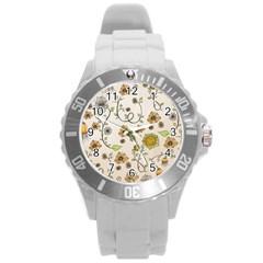 Yellow Whimsical Flowers  Plastic Sport Watch (large) by Zandiepants