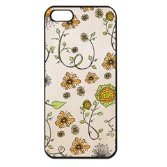 Yellow Whimsical Flowers  Apple Iphone 5 Seamless Case (black) by Zandiepants