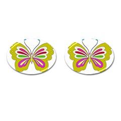 Color Butterfly  Cufflinks (oval)