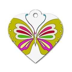 Color Butterfly  Dog Tag Heart (two Sided) by Colorfulart23