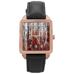 Swamp2 Filtered Rose Gold Leather Watch  by cgar