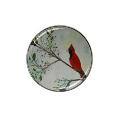 Sweet Red Cardinal Golf Ball Marker (for Hat Clip) by rokinronda