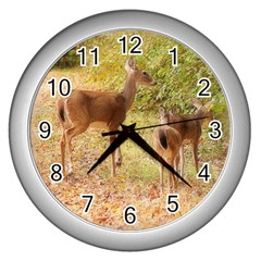 Deer In Nature Wall Clock (silver) by uniquedesignsbycassie